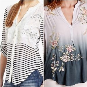 Anthropologie Tiny Striped + Ombre Shirt Bundle